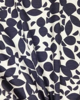 Holm Sown Online Fabric Shop - Viscose Jersey Shapes Blue-Grey - dressmaking fabric