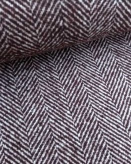 Holm Sown Online Fabric Shop - Woollen Wool Mix Brown Herringbone dressmaking fabric