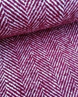 Holm Sown Online Fabric Shop - Woollen Wool Mix Burgundy Wine Herringbone dressmaking fabric