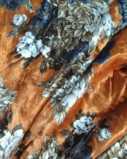 Holm Sown Online Fabric Shop - Luxury Stretch Velvet Floral Gold