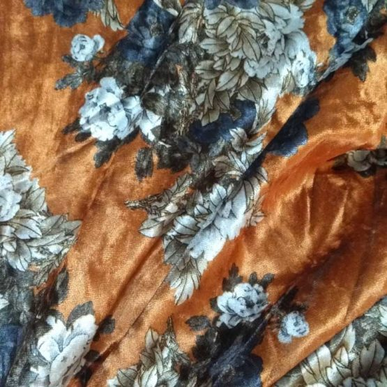 Holm Sown Online Fabric Shop - Luxury Stretch Velvet Floral Gold