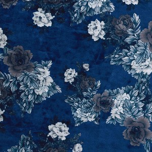 Holm Sown Online Fabric Shop - Luxury Stretch Velvet Floral Navy