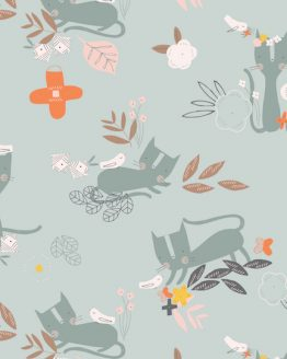 Holm Sown Online Fabric Shop - Emi & The Bird by Jilly P for Dashwood Studio - Cat and Bird Grey EMI1401