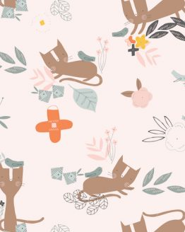 Holm Sown Online Fabric Shop - Emi & The Bird by Jilly P for Dashwood Studio - Cat and Bird Ecru EMI1402