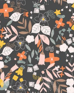 Holm Sown Online Fabric Shop - Emi & The Bird by Jilly P for Dashwood Studio - Floral Charcoal EMI1404