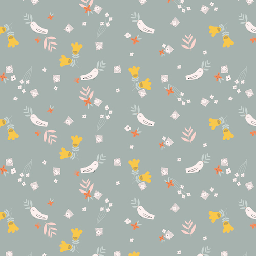 Holm Sown Online Fabric Shop - Emi & The Bird by Jilly P for Dashwood Studio - Birds Grey EMI1405